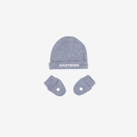 סט כובע כפפות ממותג אפור – JUSTBORN#